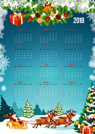 2018 New Year calendar with Christmas tree and gift decoration. Festive calendar template, framed by Xmas tree, bell, snowflake and Santa sleigh with snowy landscape of winter forest on background