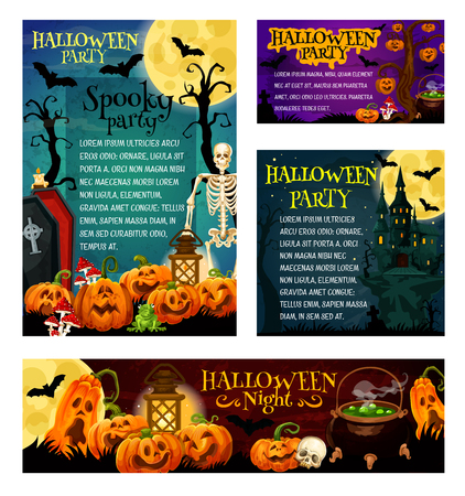 Halloween holiday night party invitation banner and greeting card template. Halloween pumpkin lantern, ghost house and cemetery, skeleton skull and moon, gravestone, coffin and potion cauldron Illustration