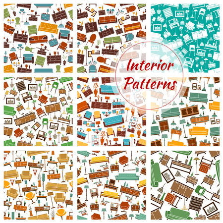Interior patterns set of furniture icons. Vector seamless pattern of room interior retro and classic elements of sofa, chair, armchair, lamp, wardrobe, picture, bookshelf, vase, locker, flower, lamp. Color interior decoration background Ilustração