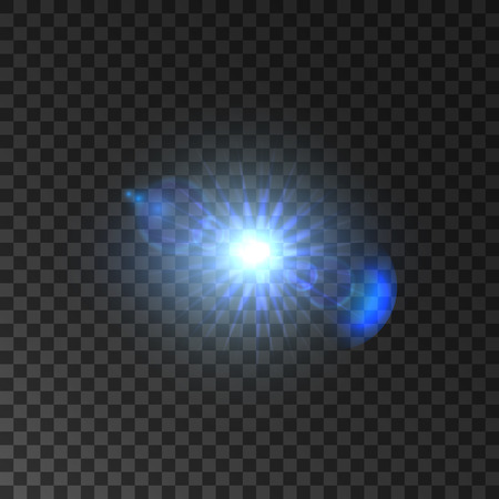 Shining light of star with lens flare effect. Blue bright light flash of spot light with luminous beams. Glowing sparkling starlight on transparent background