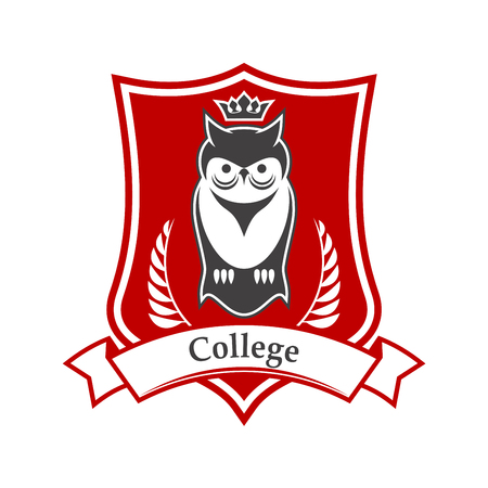 College or academy heraldic sign in red and white colors of figured shield with crowned owl bird, adorned by ribbon banner and laurel branches. Great for education theme design usage Vettoriali