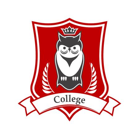 Signe héraldique du collège ou de l'académie dans les couleurs rouge et blanc du bouclier figuré avec oiseau hibou couronné, orné d'une bannière de ruban et de branches de laurier. Idéal pour l'utilisation de la conception du thème de l'éducation