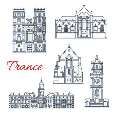 France landmarks and famous historic architecture buildings. Vector thin line facades of Saint Germain church, Saint Ives and Sever basilica, Notre Dame cathedral and city tower of Rennes Ilustração