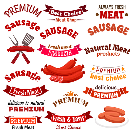 Butchery meat natural products and sausages vector icons, emblems and ribbons. Farm fresh meaty sausage and kielbasa delicatessen, smoked bratwurst, salami or pepperoni, chorizo, saucisson and cabanos