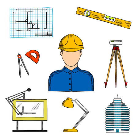 Architect or engineer in hard hat icon for construction industry design usage with colored sketches of blueprint of building project, multi storey building, automatic level, compasses, level ruler, drawing table, lamp and protractor Illustration