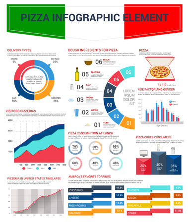 Pizza infographic elements design. Italian fast food pizza dough ingredients and toppings charts, graph and diagram with types of delivery and order, age and gender of pizzeria visitors