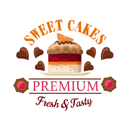 Red velvet mini cake icon for bakery shop interior or cafe menu design with petit fours topped by caramel sauce and orange fruit slice, surrounded by heart shaped chocolate candies and jam filled cookies