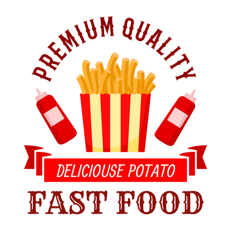 Fast food cafe symbol of crispy french fries with bottles of ketchup on both sides and wavy ribbon banner with text Delicious Potato below. Takeaway striped box of fast food fries for menu or interior design