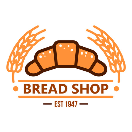Fresh baked french croissant powdered by sugar retro badge with caption Bread Shop below, decorated by orange wheat ears on both sides. Use as bakery hanging signboard or cafe menu design Illustration