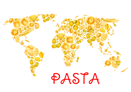 Pasta in world map poster for Italian traditional cuisine design. Vector Italy pasta lasagna or spaghetti and tagliatelle, ravioli or pappardelle and farfalle or fettuccine for restaurant menu Ilustração