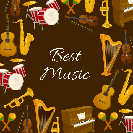 Best music poster with musical instrument. Drum, guitar, trumpet, saxophone, piano, violin, harp and maracas round frame. Musical festival or concert poster and flyer design