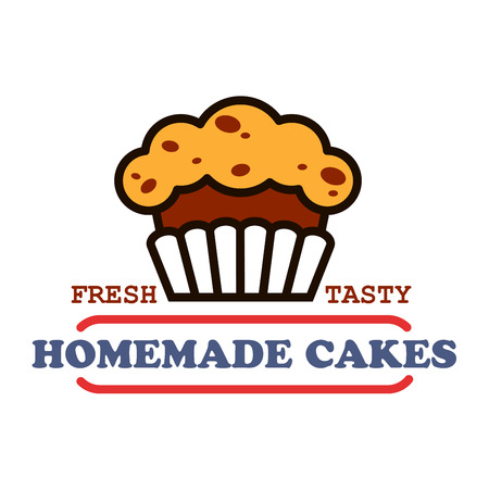 Bakery house and pastry shop vintage sign of chocolate cupcake with raisins, supplemented by banner with text Homemade Cakes. Cafe hanging signboard or bakery food packaging design. Thin line style Illustration