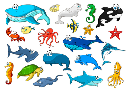 Cartoon sea animals icons. Fish, sea turtle, whale, crab, starfish, octopus and jellyfish, seahorse and dolphin, shark, shell, squid and shrimp, stingray and marlin, killer whale and hammerhead shark