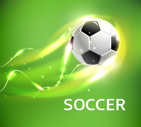 Flaming soccer ball 3d vector poster for football sport game. Ball flying with shining fire light trail, glowing flame, sparkles and bright swirling lines for soccer or football championship design Ilustrace