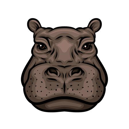 Hippo-Kopf-Cartoon-Ikone. Afrikanisches Nilpferd-Säugetier-Tier isoliertes Symbol für Wildtierthemen, Zoozeichen, T-Shirt-Druckdesign Vektorgrafik