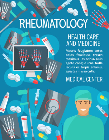 Rheumatology medical clinic poster. Vector design of rheumatologist doctor, joint and bones on X-ray for arthritis disease or trauma diagnostics, crutches or syringe and treatment pills Çizim