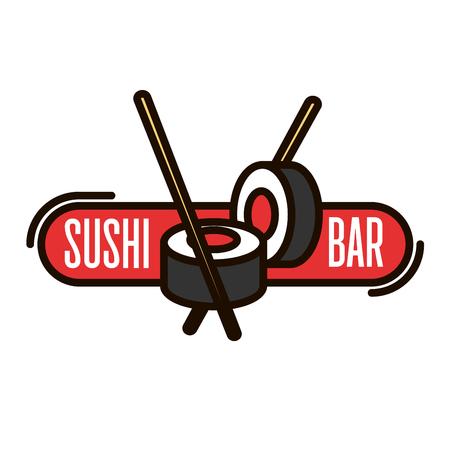 サーモン寿司ロールの寿司バーの細いアイコンは、箸と赤いバナーで。日本のシーフードレストラン看板やテイクアウト食品包装デザインの使用