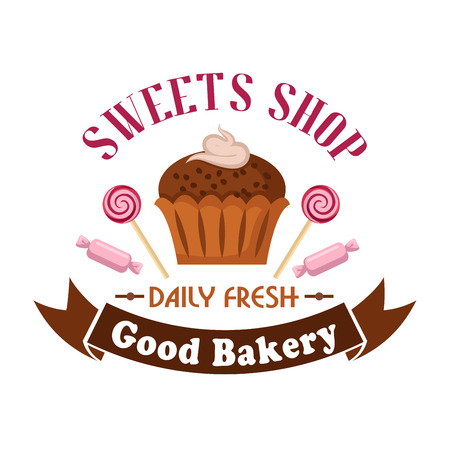 Sweet shop and bakery cartoon badge of chocolate cupcake with caramel cream decoration, flanked by pink candies and lollipop swirls with brown ribbon banner below