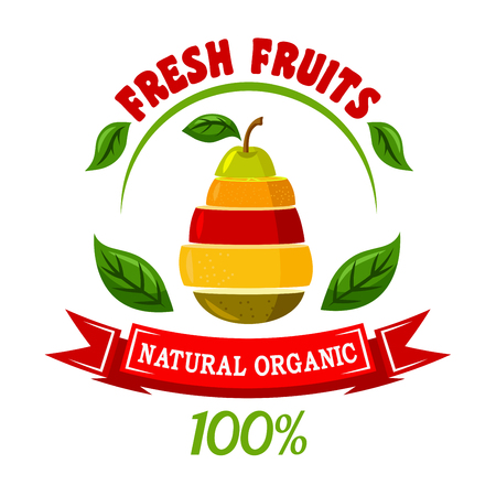 Natural organic fruits retro icon with cartoon symbol of pear made up of orange, apple, grapefruit and kiwi fruits slices encircled by header Fresh Fruits, green leaves and red ribbon banner. Food and drinks packaging design usage