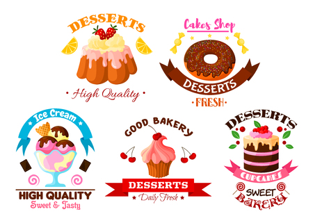 Pastry and dessert sweets vector icons set of fruit cake and cupcake with fruits, fruity ice cream, glazed vanilla tart and donut with chocolate roll pie and pudding with cream and chocolate fondant. Ribbons for bakery, patisserie or confectionery