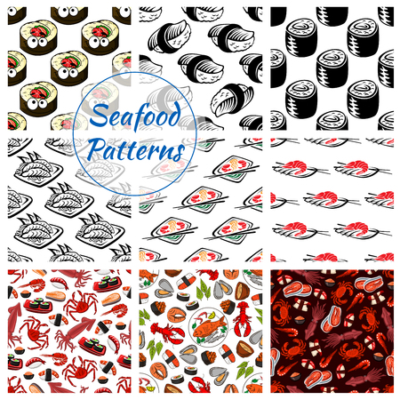 Japanese seafood patterns. Vector seamless set of sushi rolls and sashimi, shrimp or fish tempura food, steamed rice and salmon caviar or tuna with squid and noodle seaweed miso soup, wasabi, soy sauce and chopsticks for oriental cuisine restaurant Ilustração