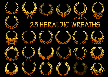 Golden laurel wreaths heraldic elements for victory theme or heraldry design usage with frames, composed of wheat ears and branches of laurel, maple and oak trees, decorated by ribbons Illustration
