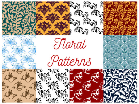 Floral decorative patterns set. Vector seamless ornate decoration pattern. Stylized flourish and flowery graphic ornaments for tapestry, textile, interior design elements, backgrounds