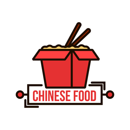 Insignia de comida china para llevar de caja de fideos de papel rojo con fideos fritos al wok y palillos. Utilizar como diseño de envasado de alimentos o servicio de entrega. Estilo de línea fina Ilustración de vector