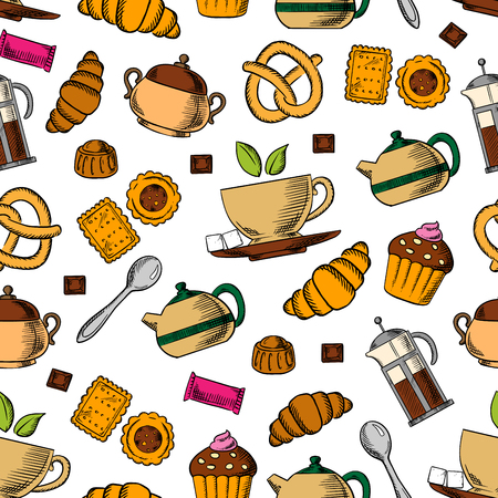 Retro seamless tea and sweets pattern with porcelain cups of fresh tea, chocolate, croissants, cupcakes, cookies, pretzels, candies, teapots and sugar bowls on white background. Tea party, breakfast theme or kitchen interior design Çizim