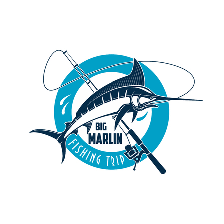Marlin fishing sport emblem. Marlin fish on a spinning rod round badge for sea fishing trip, camp or sporting club symbol design Foto de archivo - 107712496