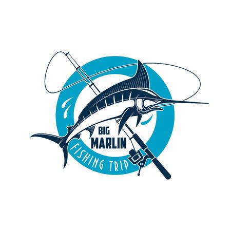 Marlin fishing sport emblem. Marlin fish on a spinning rod round badge for sea fishing trip, camp or sporting club symbol design