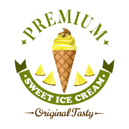 Refreshing fruity ice cream badge, framed by header Premium and ribbon banner below. Pineapple soft serve ice cream cone icon with slices of fresh pineapple fruit for dessert menu design