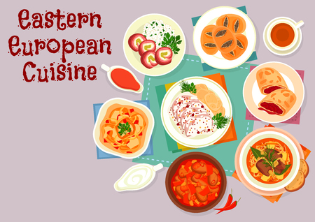 Eastern european cuisine icon with beef pepper stew, beef with cream sauce and potato dumplings, paprika chicken, pork cabbage soup, meat roll with ham and pickles, cherry strudel, poppy bun Banque d'images - 107712500