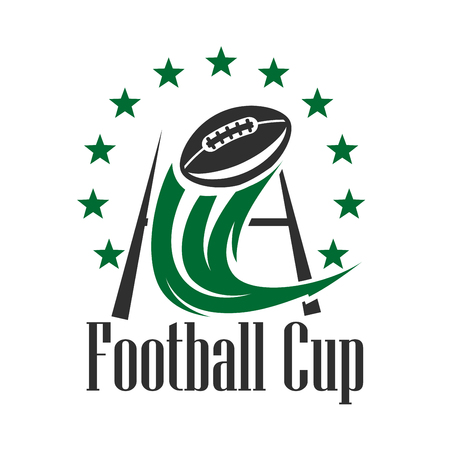 Football championship cup sign in green and black colors with ball flying through the goal post with curved decorative motion trail, framed by stars. American football competition theme design Imagens - 107712505