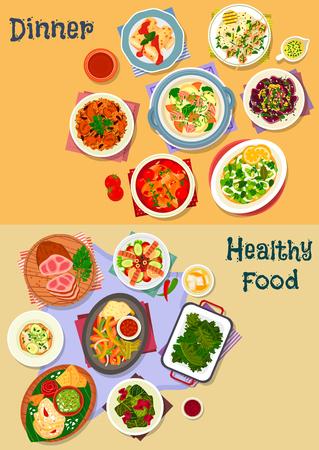 Ikona smacznego lunchu z pieczonym mięsem, gulaszem mięsnym, sałatką z owoców morza z warzywami i fasolą, zupą rybną, kanapką z kurczakiem, tortillą warzywną z guacamole, pilawem z ciecierzycy, naleśnikiem serowym, bułką z kapustą Ilustracje wektorowe