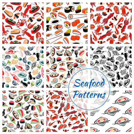 Seafood patterns set of vector seamless sushi rolls and sashimi, steamed rice and salmon caviar or tuna with squid and noodle seaweed miso soup, shrimp or fish tempura food, wasabi, soy sauce and chopsticks of Japanese oriental cuisine Stock Vector - 110353599