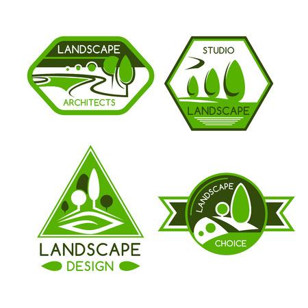 Emblema de la naturaleza del parque verde y vista al jardín con árboles, plantas, césped y senderos. Servicios de paisajismo, diseño de paisaje o letrero de arquitectura.
