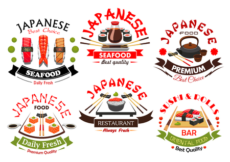 Japanese sushi bar and seafood restaurant symbol set. Japanese cuisine nigiri and roll sushi with salmon, shrimp, tuna and avocado, traditional tea set, soy and wasabi sauce with chopsticks