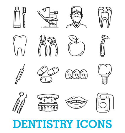 Dentistry medical thin line art icons. Vector set of dental drill for tooth, braces and implants or pliers with orthodontic chair and doctor or nurse, smile and toothbrush with toothpaste