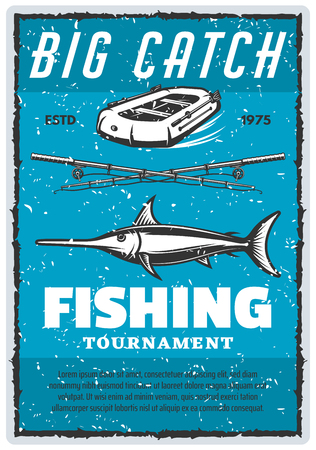 Fishing tournament retro poster for professional fisherman sport. Vector vintage design of big marlin, fish rod and inflatable boat with paddles on blue sea water