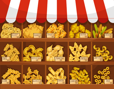 Pasta market stand price of tagliatelli, quadretti funghetto, bucatini tricolore, torti and creste di gallo, konkiloni, farfalle, gobetti rigati or eliche, tagliatelle corti, kanelone cavatappi or stelle. Shop store vector product booth stall display
