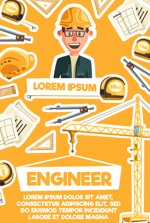 Construction engineer profession banner with architect and building equipment. Construction worker with technician project, ruler and drawing compass, tape measure, hard hat and crane poster design
