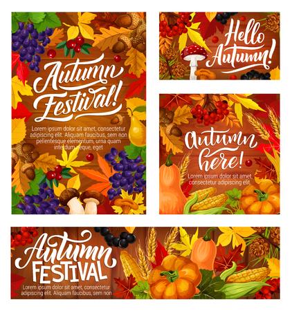 Bannières du festival d'automne avec des feuilles d'automne et récolte de légumes. Raisins sauvages et canneberge, gland et poire, champignon et maïs, citrouille ou courge et cassis, épis de blé et vecteur de viorne Vecteurs