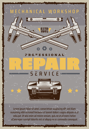Repair service vintage banner for mechanic workshop or garage. Car mechanic toolbox old grunge poster with caliper, ruler and star for vehicle technician or auto tuning center retro advertising design Stock Illustratie