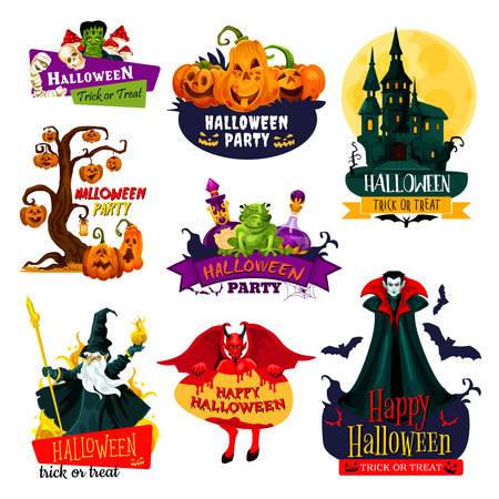 Halloween monster icon set. October horror holiday pumpkin lantern, ghost house and skeleton skull, bat, zombie, vampire and devil demon, evil wizard and witch potion bottle badge with ribbon banner Illustration