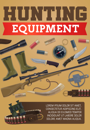 Hunting equipment poster of hunter ammo for wild animals hunt or open season. Vector items of hunting rifle guns, rubber boots and trap or bullets in carbine, compass and flashlight or knife and horn Imagens - 107712565