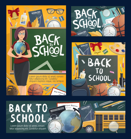 Back to school banners with geography teacher and bus, stationery and sport items. Textbook and globe, alarm clock and copybook, backpack and microscope, chalkboard and chemistry flasks vector