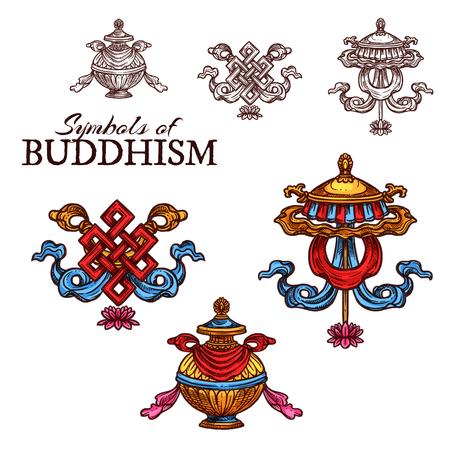 Buddhismus-Religionsskizze gesetzt mit glückverheißenden Symbolen. Endlose Knoten-, Regenschirm- und Schatzvasenzeichen von Reichtum und Fülle, unendliche Weisheit Buddhas, Könige und spirituelle Kraft