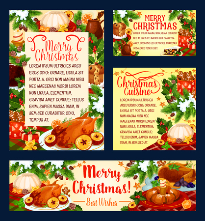 Christmas cuisine festive dinner greeting banner. Baked turkey, Xmas pudding, New Year fruit cake and gingerbread cookie festive card, decorated by holly and pine tree branch, star and snowflake Ilustração