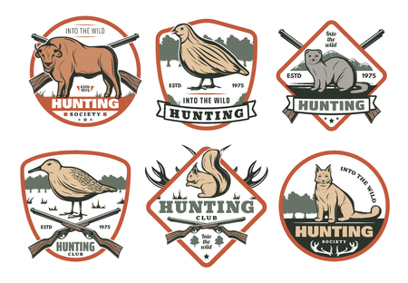 Hunting animal and bird with hunter rifle retro shield badge for hunt sport club template. Grouse, lynx and buffalo, squirrel, ferret and chukar symbol, decorated with antler, weapon and ribbon banner